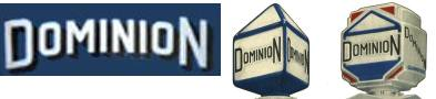 Dominium petroleum co logo and early and late pump globe designs