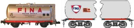 Sketch showing Fina tank branding
