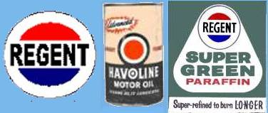 Sketch of tin of Havoline branded as 'a Regent product' at Regen paraffin sign