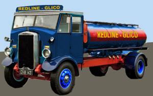 Redline-Glico road tank livery on a 1935 Leyland Bever tanker