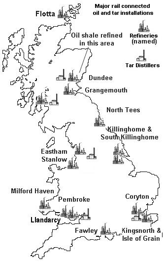 sketch map showing major rail connected oil installations in mainland britain